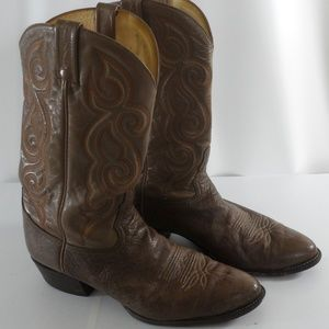 Tony Lama 03084 Ostrich Vamp and Leather Boots